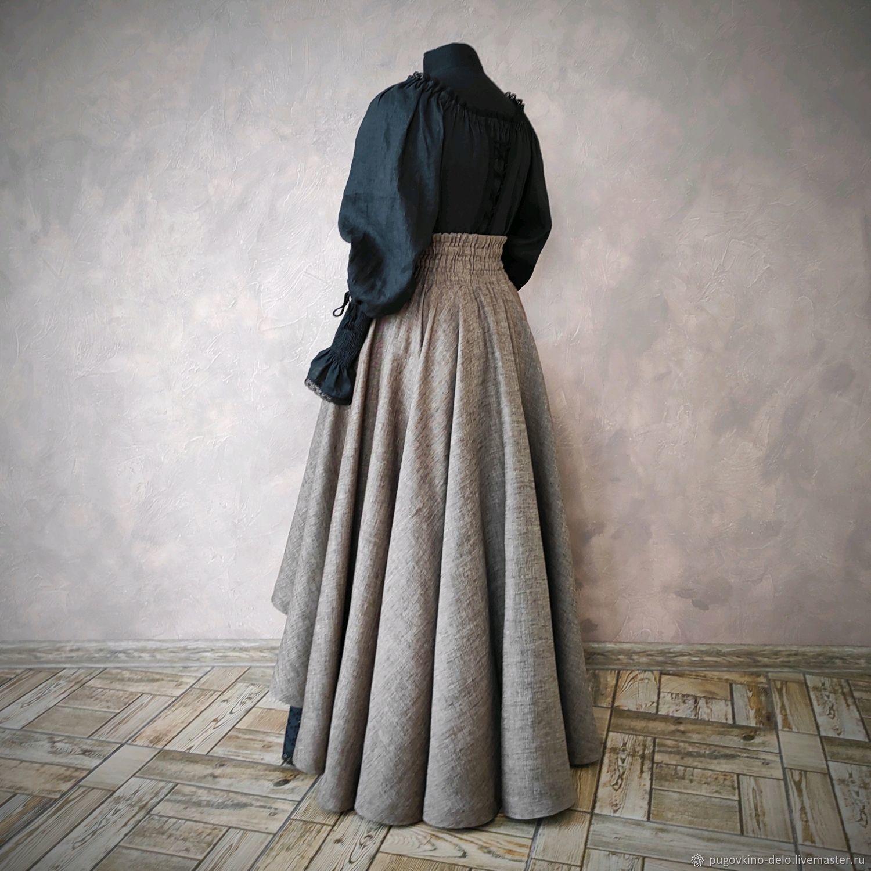 Sun skirt made of linen with an asymmetrical bottom, Skirts, Kemerovo,  Фото №1