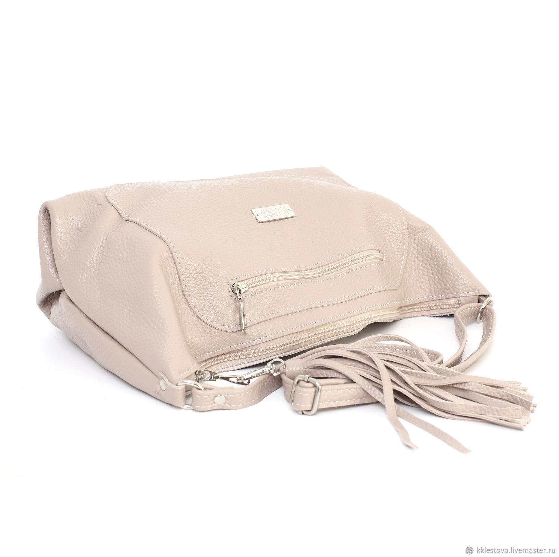 My Handbags handmade. Ashes rose soft leather shoulder Bag with crossbody  strap. BagsByKaterinaKlestova. 5c08ef570f0cf