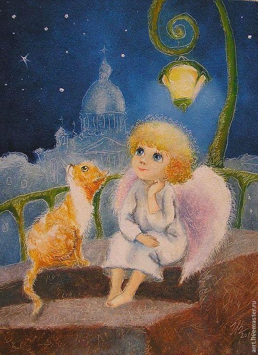 Фантазийные сюжеты ручной работы. Ярмарка Мастеров - ручная работа. Купить Картина Ангел и рыжий кот Картон масло. Handmade.