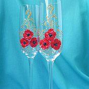 Свадебный салон ручной работы. Ярмарка Мастеров - ручная работа Свадебные бокалы с маками. Handmade.