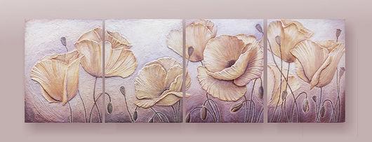 """Картины цветов ручной работы. Ярмарка Мастеров - ручная работа. Купить Фреска """"Желтые маки"""". Handmade. Флористическийколлаж, структурная паста"""