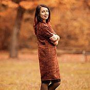 Одежда ручной работы. Ярмарка Мастеров - ручная работа платье -баллон из итальянского твида оранжевое. Handmade.