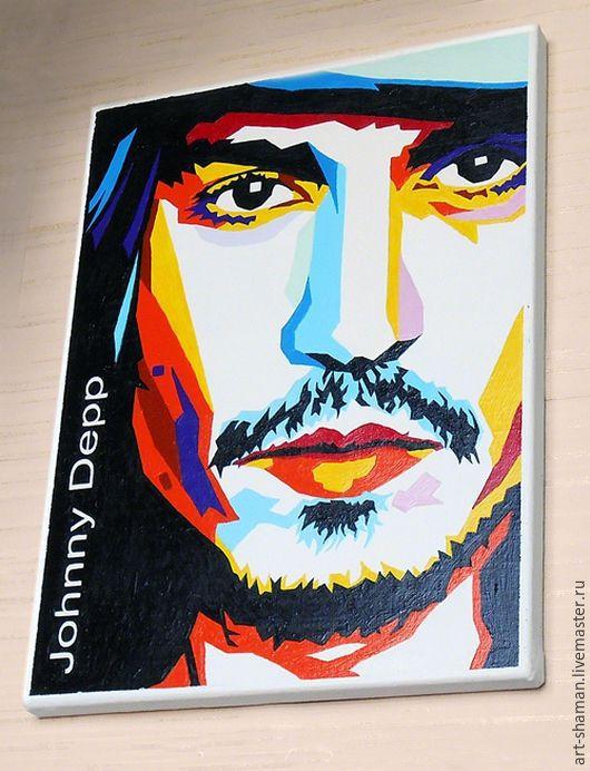Люди, ручной работы. Ярмарка Мастеров - ручная работа. Купить Картина. Арт-портрет Джонни Деппа.. Handmade. Картина