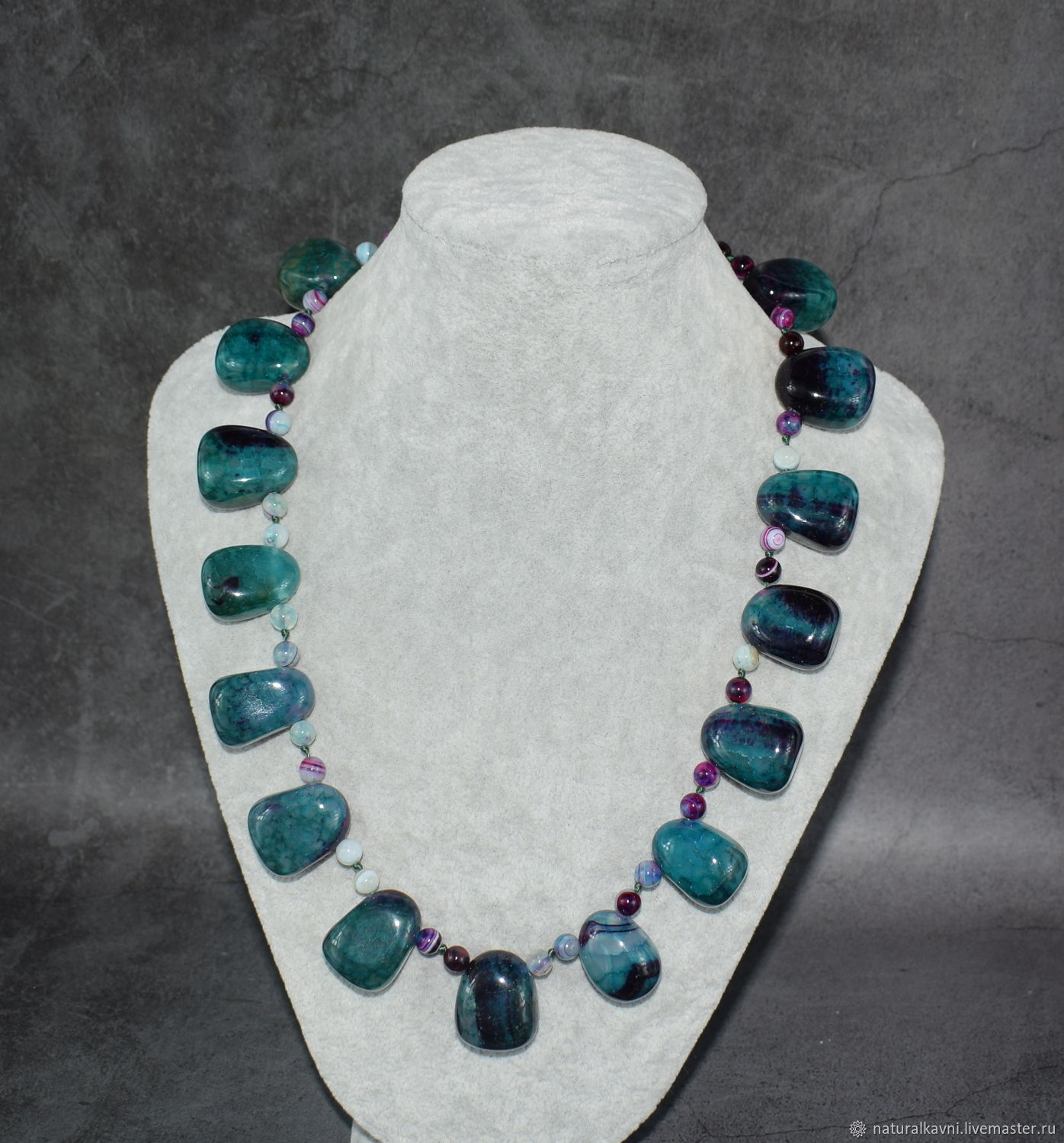 Necklace Natural Agate Dragon Veins. The author's work, Necklace, Moscow,  Фото №1