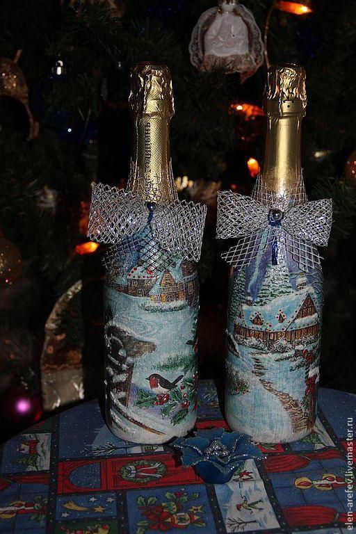 Новый год 2017 ручной работы. Ярмарка Мастеров - ручная работа. Купить Декор подарочных бутылок. Handmade. Декупаж, лак