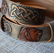 Аксессуары handmade. Livemaster - original item Belt leather with embossed