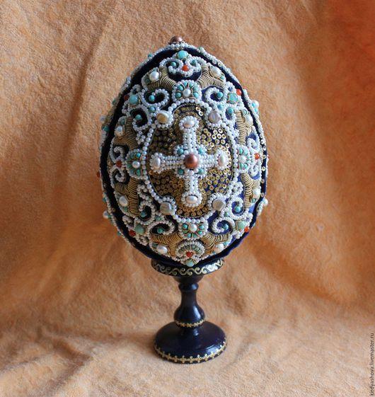 Сувениры ручной работы. Ярмарка Мастеров - ручная работа. Купить Пасхальной яйцо - орнаментальное золотное шитьё. Handmade. Тёмно-синий