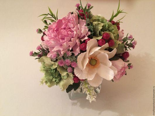 Цветы ручной работы. Ярмарка Мастеров - ручная работа. Купить букет цветов с белым шиповником. Handmade. Комбинированный, букет в подарок