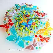 Для дома и интерьера ручной работы. Ярмарка Мастеров - ручная работа часы из стекла, фьюзинг   Бабочки летают, бабочки ...... Handmade.