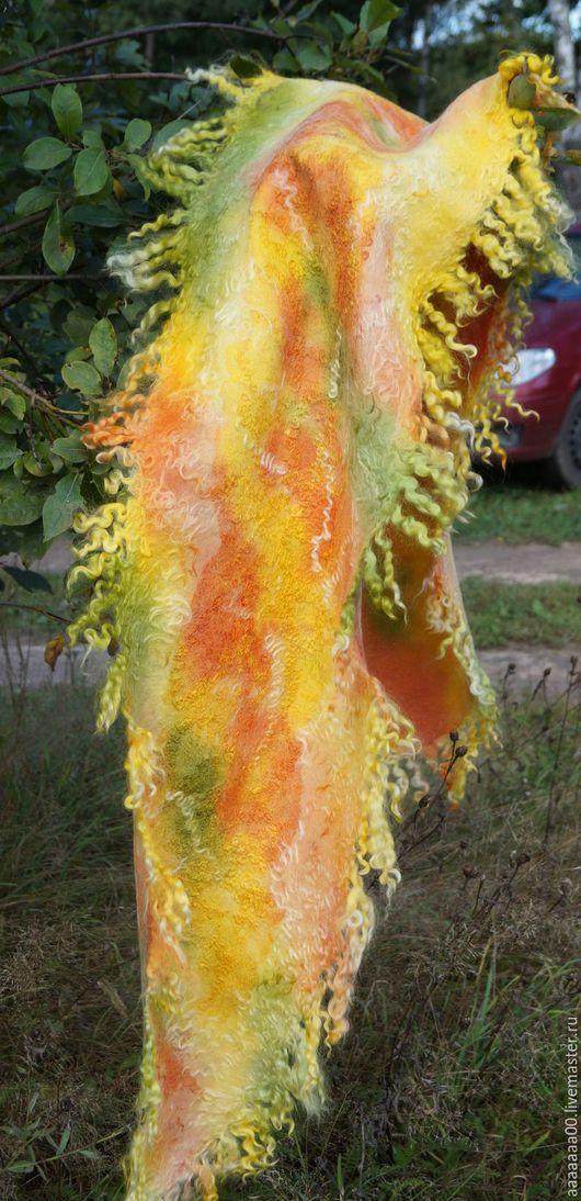 """Шарфы и шарфики ручной работы. Ярмарка Мастеров - ручная работа. Купить Валяный шарф  """"Осенний листопад"""". Handmade. Разноцветный, подарок"""