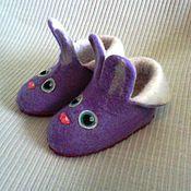 Обувь ручной работы. Ярмарка Мастеров - ручная работа валяные детские тапочки зайки   для примера. Handmade.