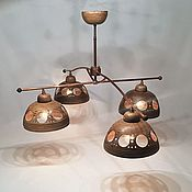 Для дома и интерьера handmade. Livemaster - original item Ceramic chandelier with four shades and brass frame. Handmade.