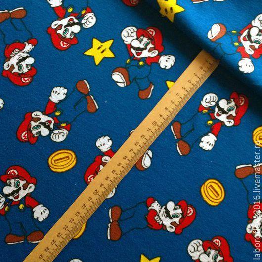 """Шитье ручной работы. Ярмарка Мастеров - ручная работа. Купить Хлопковый трикотаж """" Супер Марио"""". Handmade. Синий, трикотаж"""