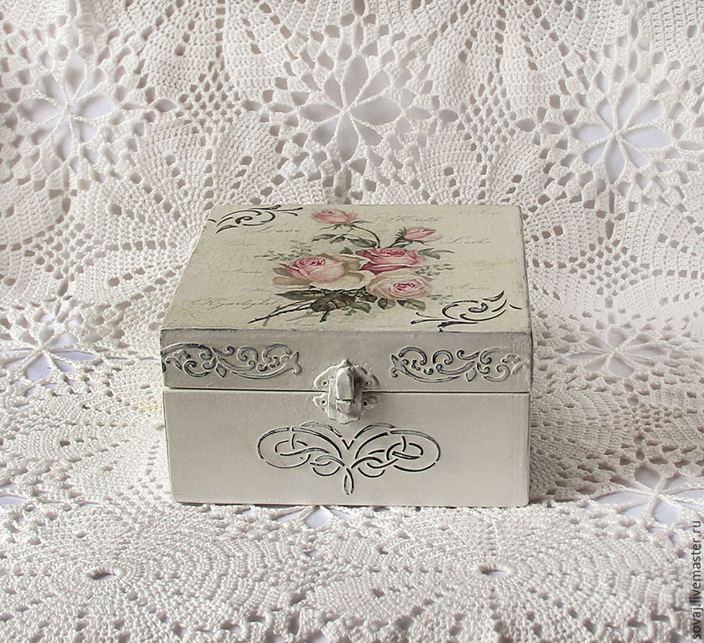 Shabby chic box  Shabby Chic decor Pink Shabby Chic Wooden trinket box