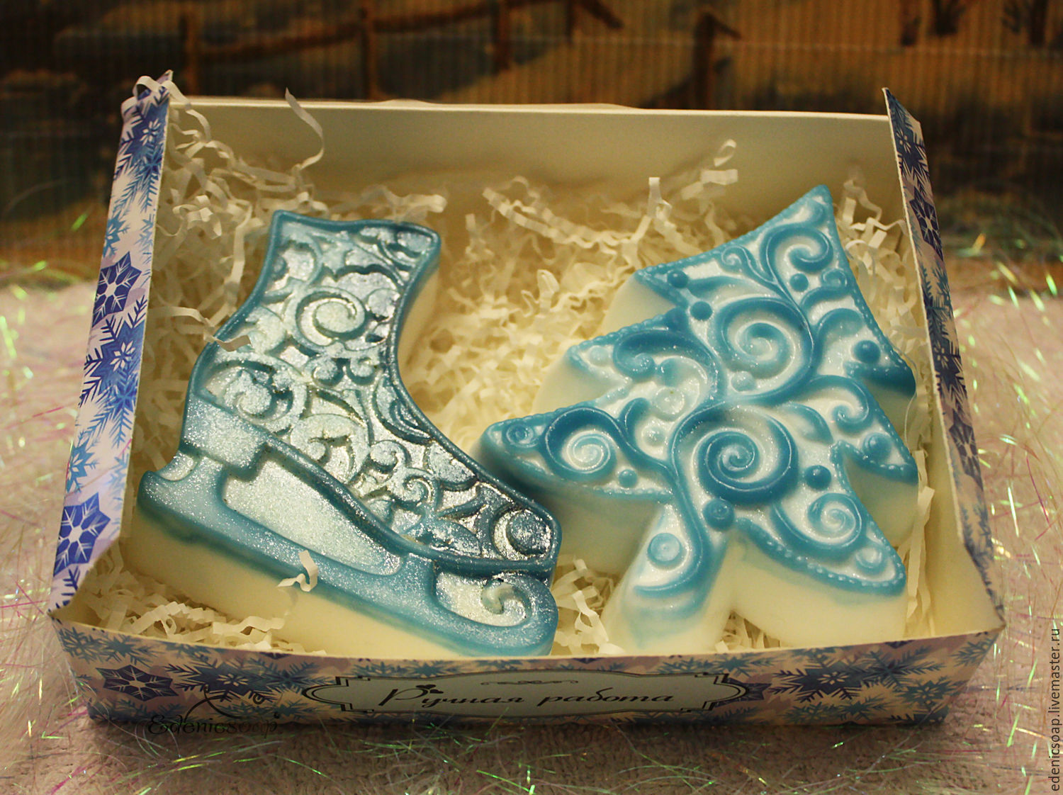 Christmas set of handmade soap. Winter. Christmas gifts.Edenicsoap.