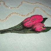 """Брошь-булавка ручной работы. Ярмарка Мастеров - ручная работа Брошь цветок """"Тюльпаны"""". Handmade."""