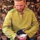 """Этническая одежда ручной работы. Ярмарка Мастеров - ручная работа. Купить рубаха льняная """"Мята"""""""". Handmade. Подарок мужчине"""
