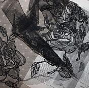 Винтаж ручной работы. Ярмарка Мастеров - ручная работа Старинное кружево модерн, вышивка на тюле. Handmade.