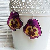 Украшения handmade. Livemaster - original item Transparent Earrings Pansy No. №2 Flowers Boho Jewelry Epoxy. Handmade.