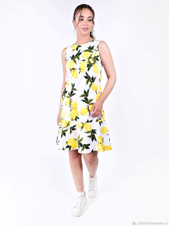 Платье  Лимоны на белом  р-ры 36- 60, Платья, Москва,  Фото №1