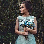 Платья ручной работы. Ярмарка Мастеров - ручная работа Льняное платье Любавушка. Handmade.