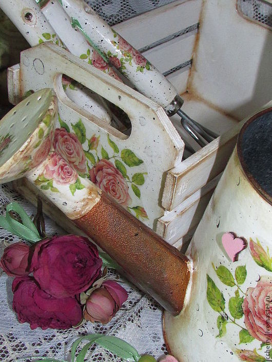 """Лейки ручной работы. Ярмарка Мастеров - ручная работа. Купить лейка, ящик и инструменты """" Городской садовод"""". Handmade. Белый"""