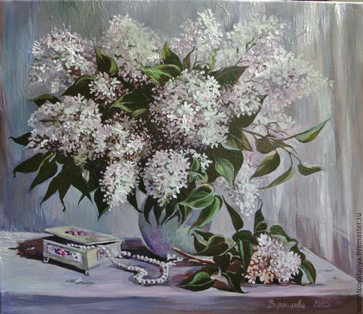 """Картины цветов ручной работы. Ярмарка Мастеров - ручная работа. Купить """"Белая сирень"""". Handmade. Сиреневый, цветы, картина"""
