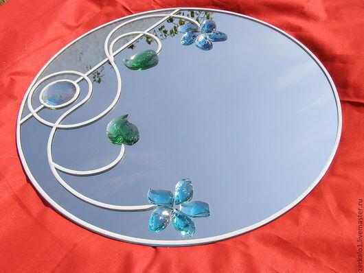 """Зеркала ручной работы. Ярмарка Мастеров - ручная работа. Купить Зеркало с декором """"Эдельвейс"""". Handmade. Синий, предмет интерьера, зеленый"""