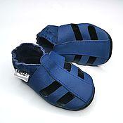 Одежда детская handmade. Livemaster - original item Blue Baby Sandals Leather, Baby Shoes,Baby Summer Shoes. Handmade.