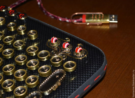 Steampunk Keyboard ` JOVE `+ Your personal name on a brass plate Стимпанк клавиатура `JOVE`