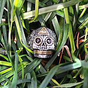 Украшения handmade. Livemaster - original item Ring Skull with the all-seeing Eye of dimensionless silver 925 and bra. Handmade.