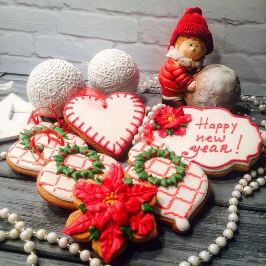 """Кулинарные сувениры ручной работы. Ярмарка Мастеров - ручная работа. Купить Набор пряников """"Happy New Year 1"""". Handmade."""