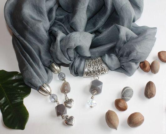 """Кулоны, подвески ручной работы. Ярмарка Мастеров - ручная работа. Купить Шарф """"Дуэт"""". Handmade. Серый, шарф, украшение на шею"""