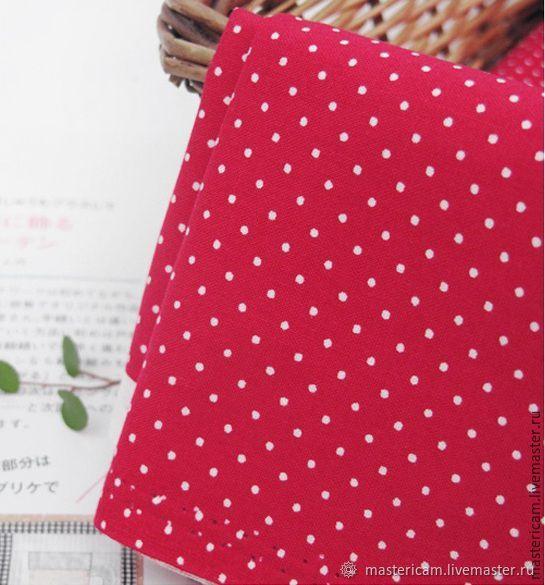 """Ткань корейский хлопок 100% """"Красная в горошек"""" 55 х 45 см, Ткани, Краснодар,  Фото №1"""