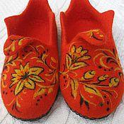 """Обувь ручной работы. Ярмарка Мастеров - ручная работа Войлочные тапки """"Цветы Хохломы"""". Handmade."""