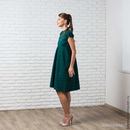 Платья ручной работы. Ярмарка Мастеров - ручная работа. Купить Темно-зеленое валяное платье. Handmade. Однотонный, войлочное платье