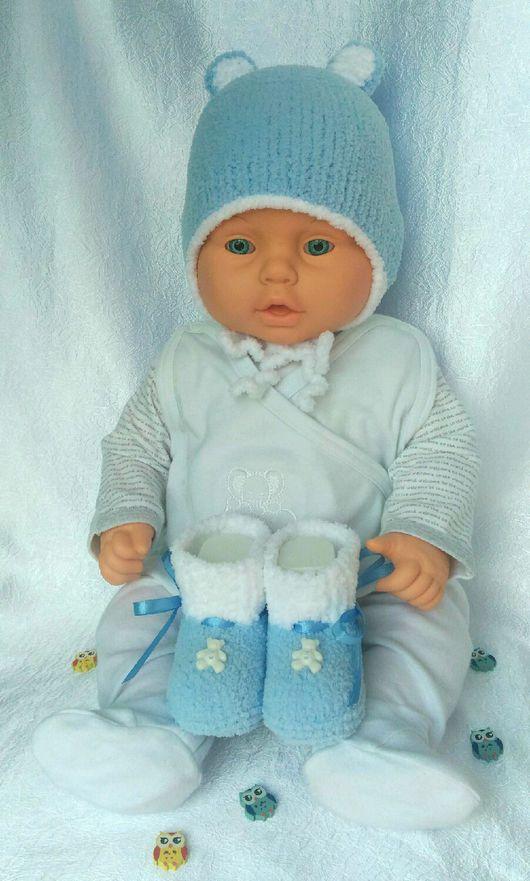 Для новорожденных, ручной работы. Ярмарка Мастеров - ручная работа. Купить Плюшевый комплект для мальчика/девочки - шапочка и пинетки. Handmade. Комплект