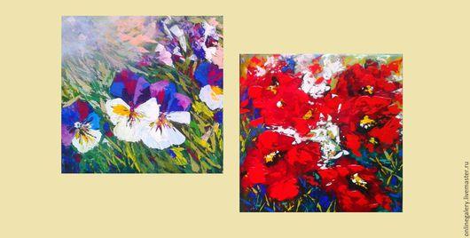 """Пейзаж ручной работы. Ярмарка Мастеров - ручная работа. Купить Модульная картина """"Цветущая поляна"""" акрил 30х30см 2шт. Handmade."""