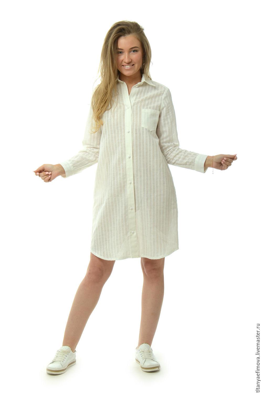 dd44f03ecd8 Блузки ручной работы. Ярмарка Мастеров - ручная работа. Купить Платье  рубашка белая из льна ...