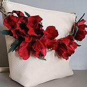 Сумки и аксессуары handmade. Livemaster - original item Bag leather women`s crossbody bag hobo small Maki milk. Handmade.