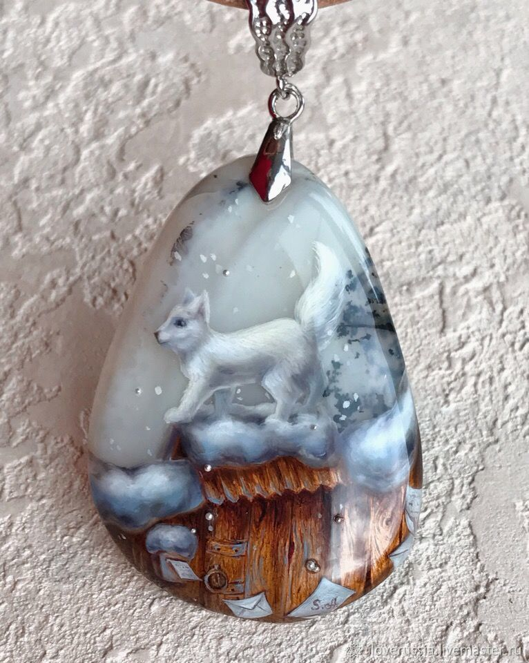 Pendant with the painting ' Frosty lace'. Lacquer miniature, Pendants, St. Petersburg,  Фото №1