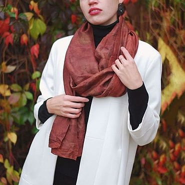 Аксессуары handmade. Livemaster - original item Scarf silk red brown eco print. Handmade.