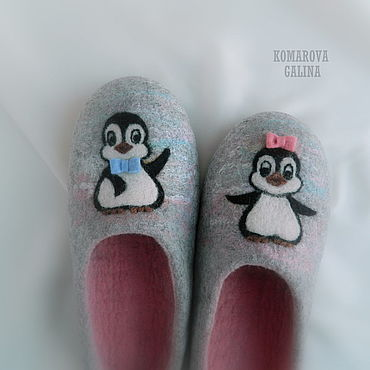 Footwear handmade. Livemaster - original item Slippers: Little penguins. Handmade.