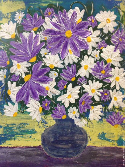 """Картины цветов ручной работы. Ярмарка Мастеров - ручная работа. Купить Картина """"Ромашки"""" (продана). Handmade. Ромашки, романтика, цветы"""