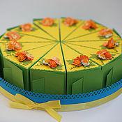 """Сувениры и подарки ручной работы. Ярмарка Мастеров - ручная работа Бонбоньерки """"Кусочки тортика"""" (зелено-желтые). Handmade."""