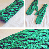 Аксессуары handmade. Livemaster - original item Set knitted Emerald for Irina, scarf - snud, bandage and mittens.. Handmade.