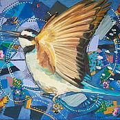Картины и панно ручной работы. Ярмарка Мастеров - ручная работа Птица на синем. Handmade.