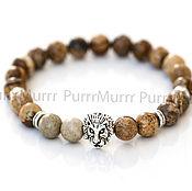 Украшения handmade. Livemaster - original item 2582_1_Мужской bracelet with Jasper 8mm Bracelet with a lion, a gift from a man. Handmade.