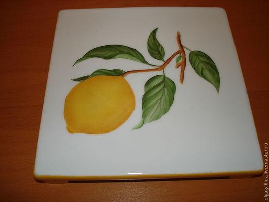 """Кухня ручной работы. Ярмарка Мастеров - ручная работа. Купить Подставка фарфоровая """"Лимон"""". Handmade. Фарфор, подставка под горячее"""
