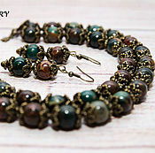 Украшения handmade. Livemaster - original item A set of Jasper. Beads made of Jasper. Earrings made of Jasper. Bronze. Handmade.